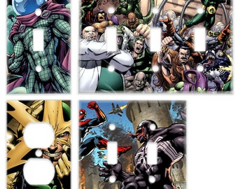 Spiderman Villans Light Plate Switch & Outlet Cover (Venom Mysterio Electro Green Goblin Doctor Octopus) Marvel Spider Man Comic Book Decor