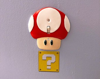 Super Mario Mushroom Wall Plate (Single Switch + Power Outlet) - nintendo video game decor kids bedroom idea man cave decor game room gift