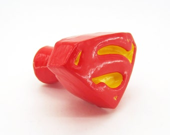 Superman Logo Furniture Knob - DC Comics superhero video game decor compatible w/ cabinets closets cupboards dressers drawers & more