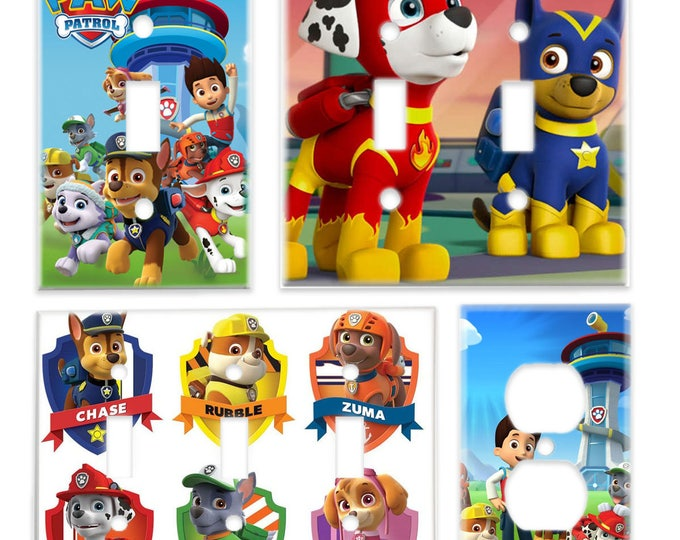 Paw Patrol Kids Room Light Plate Cover & Outlet Cover (Chase Rubble Skye Marshall Everest) Cartoon Paw Patrol Decor Switchplate