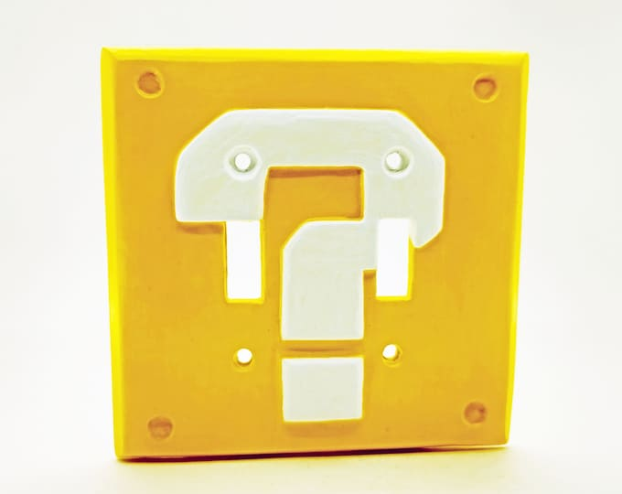Question Block Double Light Switch Cover | Super Mario Room Wall Plate - nintendo video game decor kids bedroom idea game room gift
