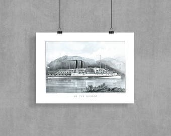 Vintage steamship, steamship poster, steamship art print, steamboat poster, On the Hudson