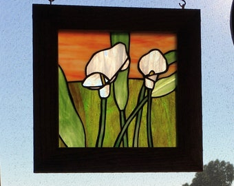 Stained Glass Original White Calla Lilly Design Flower Framed Panel 9.5 x 9.75 inches