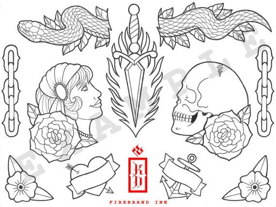 Tatuaje Tradicional Flash Diseño Para Colorear Hoja 1