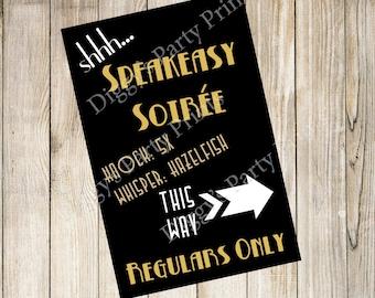 Speakeasy Soiree, speakeasy sign, roaring 20s