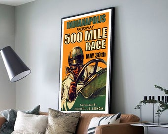 Indianapolis Speedway 500 Vintage Style Poster