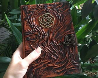 Vintage Flower Journal, Floral Leather Notebook, Gift for Mom