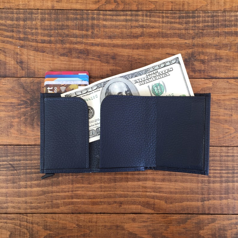 Leather Wallet Card Case Metal Credit Card Holder ID Holder Automatic Business Card Case Gift for Him Coworker Gifts