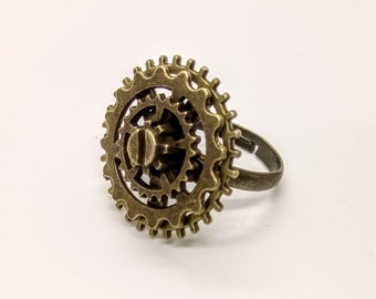 Steampunk Ring with Cogs Gears Bronze