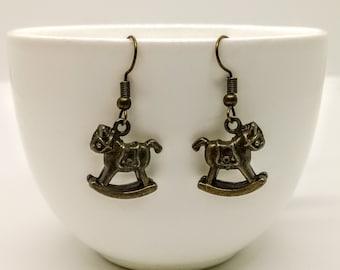 Rocking Horse Earrings Bronze Vintage