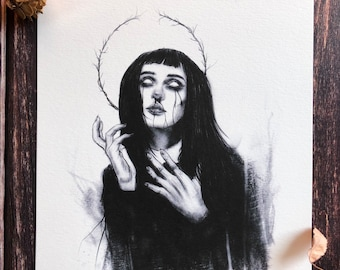 Old Blood- 5x7 Fine Art Print, Gothic Romance, Witchy Decor, Til Death, Full Moon, Spooky, Memento Mori