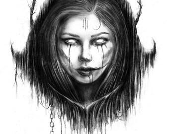 Malleus Maleficarum-5x7 Fine Art Print, Witchy Wall Decor, Satanic Art, Magick, Lilith, Dark Academia