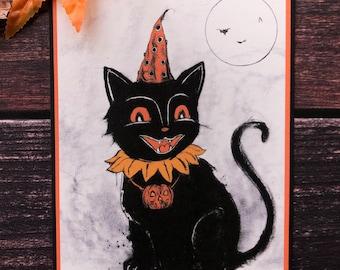 Hat Cat-5x7 Fine Art Print, Pumpkin Decor, Vintage Halloween Card, Spooky, Full Moon, Magick