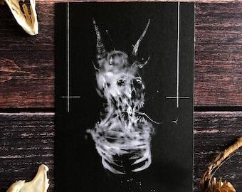 Devil- 5x7 satanic decor, fine art print, Baphomet, black phillip, macabre art
