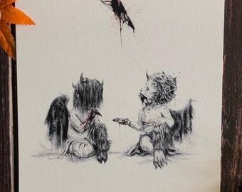 Baphomet-8x10 Satanic Art, Witchcraft, Goat Skull, Black Phillip