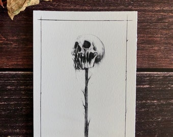 The Beheading of a Nocturnal- 5x7 Skull Drawing, Satanic Art, Gothic Wall Decor, Witchcraft, Momento Mori, Ritual