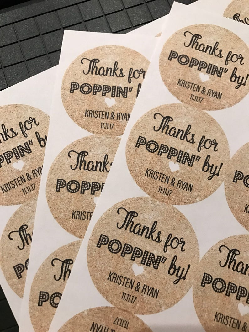 Thanks for Popping by Wedding Stickers Custom Stickers image 0