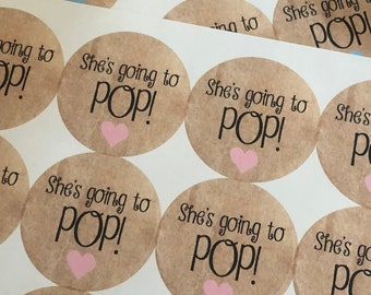 Baby Shower, shes going to pop, Custom Stickers, Baby Shower tags, Custom Sticker, Ready to POP, 20STICKER