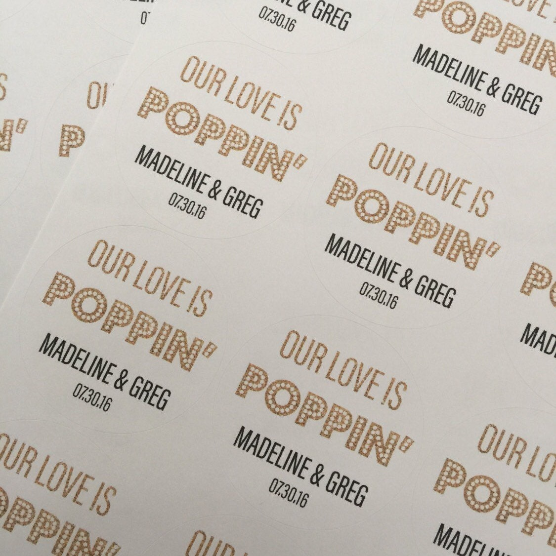 Our Love Is popping, Wedding Favors, Wedding Favor Stickers, Custom ...
