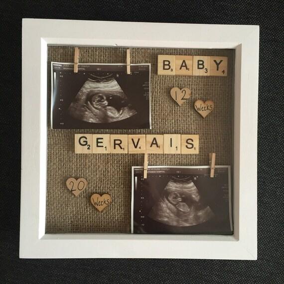Semaine de cadre 12 & 20 scan bébé | cadeau de shower de bébé | nouveau bébé | souvenir | décoration chambre d'enfant | caisson | toile de jute | neutre 4D cadeau unisexe