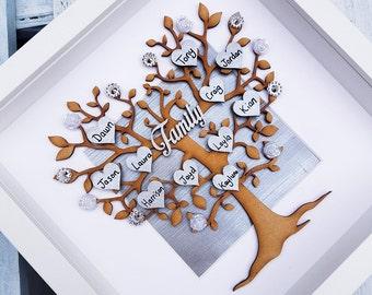 Albero genealogico cornice | Foto di famiglia regalo | Grigio arredamento casa famiglia arredamento | personalizzato di cuori | Dono del padre | Nonni, festa della mamma regali