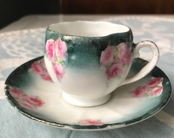 4e4c9e8c829 Vintage Mini Tea Cup and Saucer Teal with Pink Roses, Gold accent Ceramic Antique  Vintage Teacup