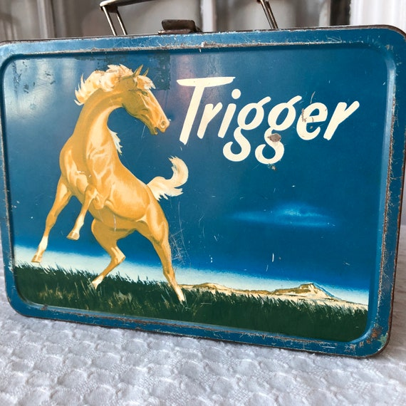 Rare, Vintage Trigger Horse Metal Lunch Box The American Thermos Bottle Co. 1957 Roy Rogers