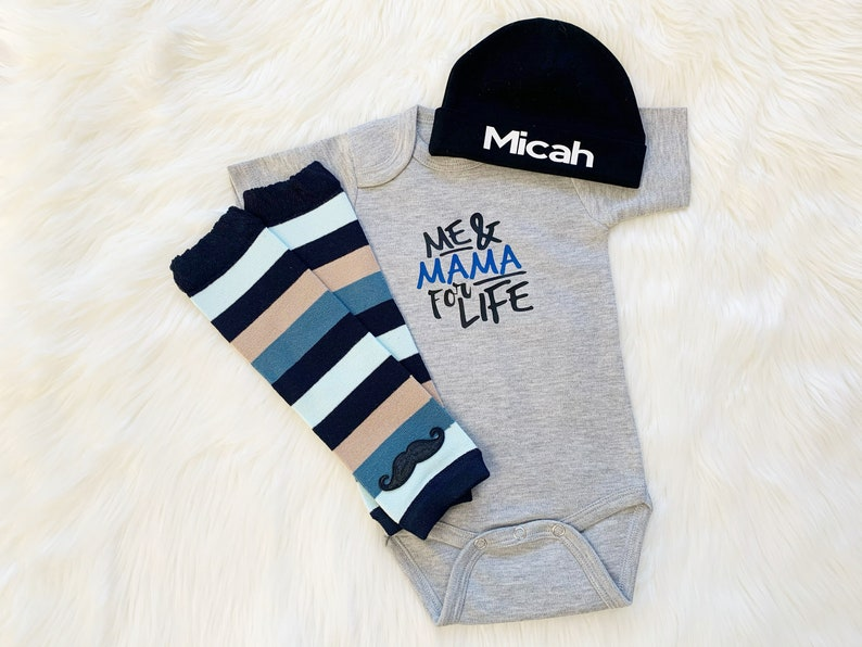 Me And Mama For Life Baby Boy Outfit Baby Boy Outfit Newborn image 0