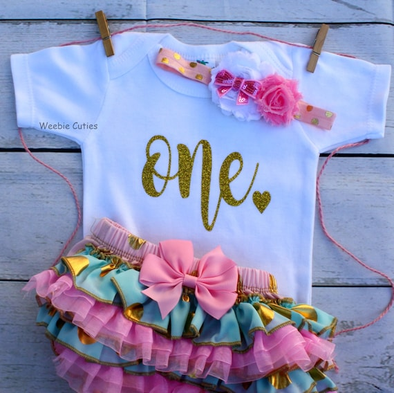 4004a87e1daf3 Pink And Gold First Birthday Outfit Baby Girl First Birthday | Etsy