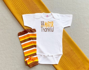 Baby Boy Clothes, My First Thanksgiving Outfit, Baby's First Thanksgiving Outfit, Baby Boy Little Mister Thankful Outfit, Turkey Day Outfit