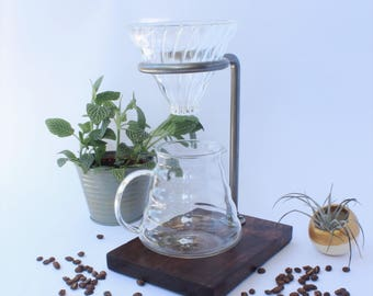 Steel Coffee Pour Over - Coffee Stand - Ceramic Pour Over - Coffee Maker