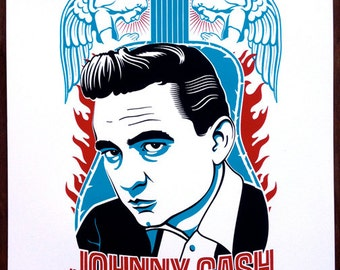 Johnny Cash 3-Color Limited Edition Screenprint
