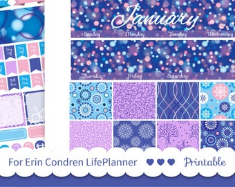 JANUARY MONTHLY KIT Glitter Monthly Sticker Kit for 2018 Erin Condren Planner printable New Year planner Cut file stickers