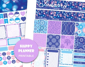 JANUARY MONTHLY KIT 2018 Happy Planner printable January stickers Winter planner stickers Glitter planner kit hp stickers