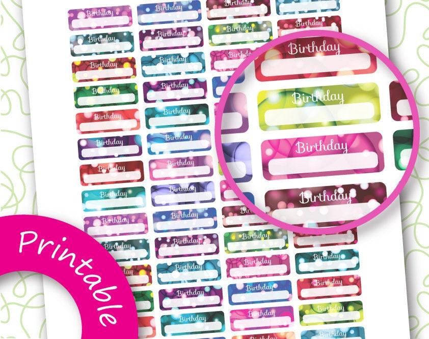Birthday planner stickers printable
