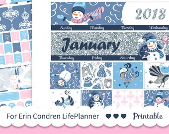 JANUARY MONTHLY KIT Printable planner stickers Monthly stickers Winter monthly view fits for Erin Condren 2019 planner