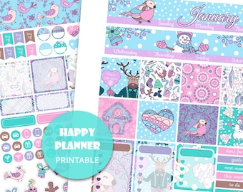 HP JANUARY MONTHLY view kit Happy Planner printable Winter monthly kit Deer planner stickers Planner accessories Monthly planner view