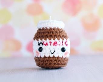 Crochet Nutella Amigurumi Keychain Charm