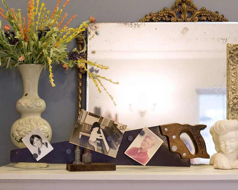 Vintage Hand Saw Magnetic Photo Display with Mini Shelf