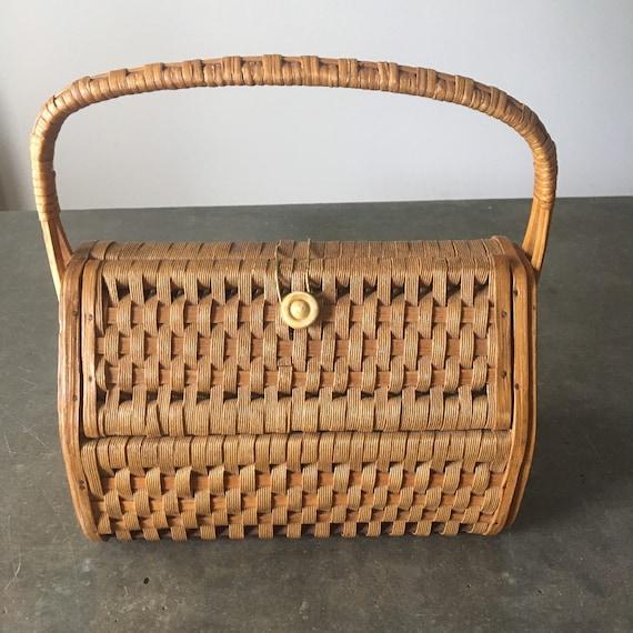 Vintage Wicker Basket Wood Sided Boho Basket Bag P