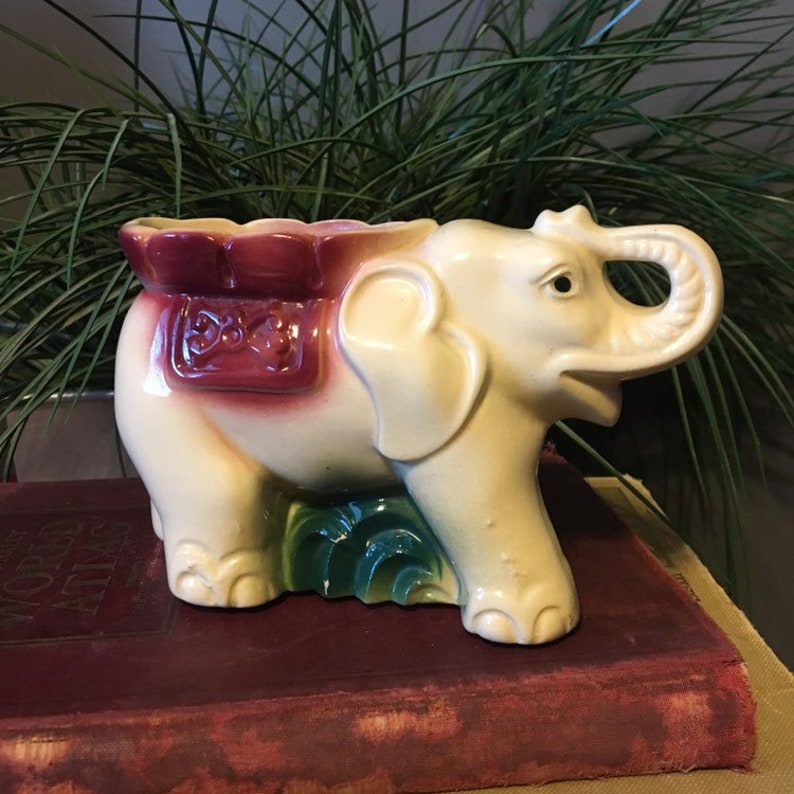 Vintage Cream Elephant Planter Burgundy and Green Mid Century