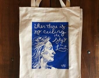 Hillary Clinton Tote Bag, Screenprinted Reusable Market Bag, Hillary Clinton Quote, Presidential Election DNC Speech, Blue on canvas