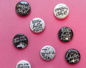 """Rally Buttons, Resist Pins, Set of 3 1"""" Feminist Buttons, Unicorn, Women Empowerment, Feminism"""