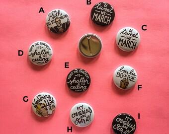 "Rally Buttons, Resist Pins, Set of Three 1"" Political Buttons, Hillary Clinton, Elizabeth Warren, Ruth Ginsburg, Ovaries, Feminist, Boy Bye"