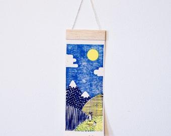 Blue, Yellow, Green Handmade Linocut Mountain Scape - Sunny Hillside - Original Artwork for Home Decor