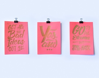 Copper, Hot Pink, Handmade Linocut Prints - Three Tips for Successful Brainstorming - Inspirational - Home Decor