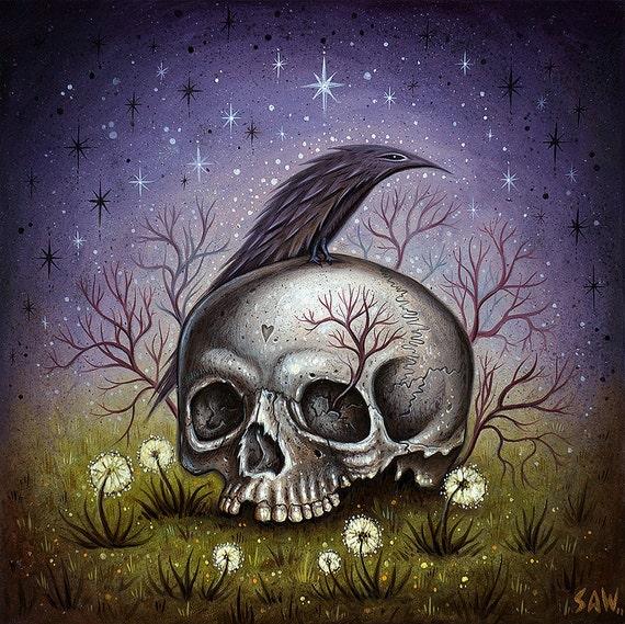 Arte de cráneo Cuervo cráneo humano Raven Anatomía