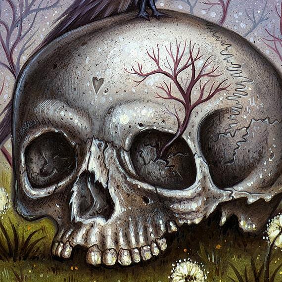 Arte de cráneo Cuervo cráneo humano Raven Anatomía | Etsy