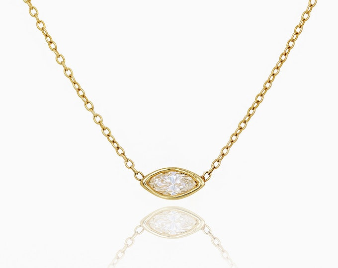 Featured listing image: Marquise Diamond Solitaire Necklace, Bezel Set Marquise Cut 0.10 ct Natural Diamond Charm Necklace, Minimalist 14K Gold Diamond Necklace