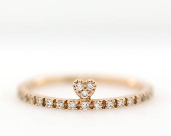 Diamond Wedding Band, Diamond Wedding Ring, Diamond Engagement Band, Diamond Engagement Ring, Heart Diamond Ring